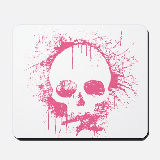 Pink Sprayed Skull Mousepad