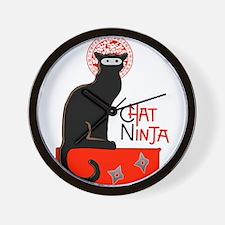 Ninja cat Wall Clock