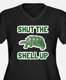 Shut the she Women's Plus Size V-Neck Dark T-Shirt