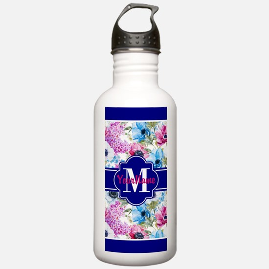 Boho Watercolor Floral Water Bottle