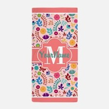 Coral Bohemian Flowers Personalized Beach Towel