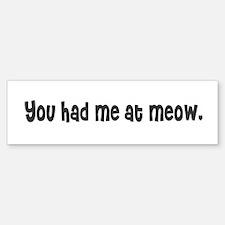 You had me at meow. Bumper Bumper Bumper Sticker