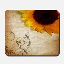 girly swirls floral sunflower Mousepad