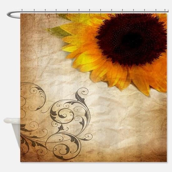 girly swirls floral sunflower Shower Curtain