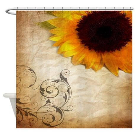 Girly Swirls Floral Sunflower Shower Curtain
