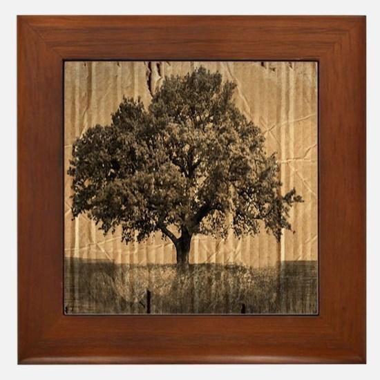 romantic landscape oak tree Framed Tile