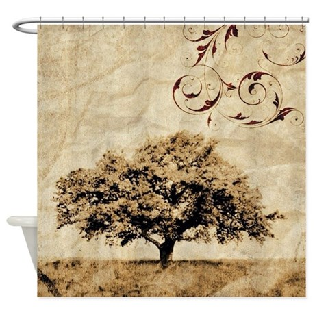 Romantic landscape oak tree shower curtain by listing store 62325139