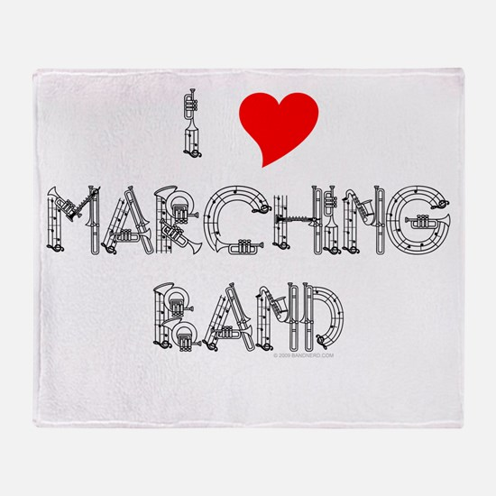 I Love Marching Band Throw Blanket
