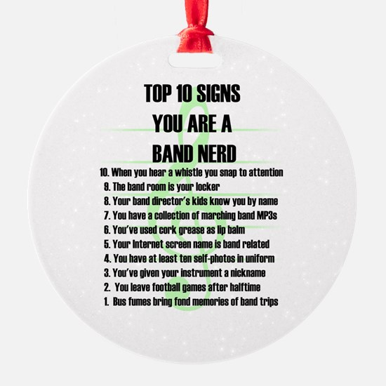 Band Nerd Top 10 Round Ornament