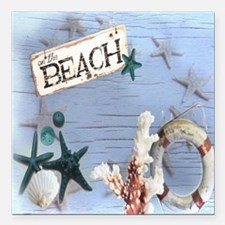 """beach coral sea shells  Square Car Magnet 3"""" x 3"""""""