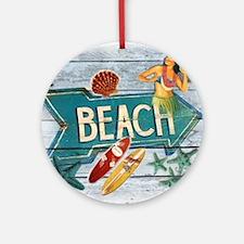 surf board hawaii beach  Round Ornament