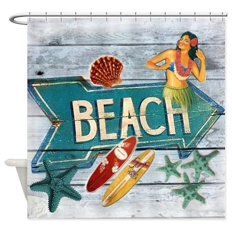 surf board hawaii beach shower curtain