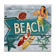 surf board hawaii beach  Tile Coaster