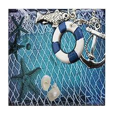 nautical fisherman sea shells Tile Coaster
