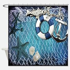 nautical fisherman sea shells Shower Curtain