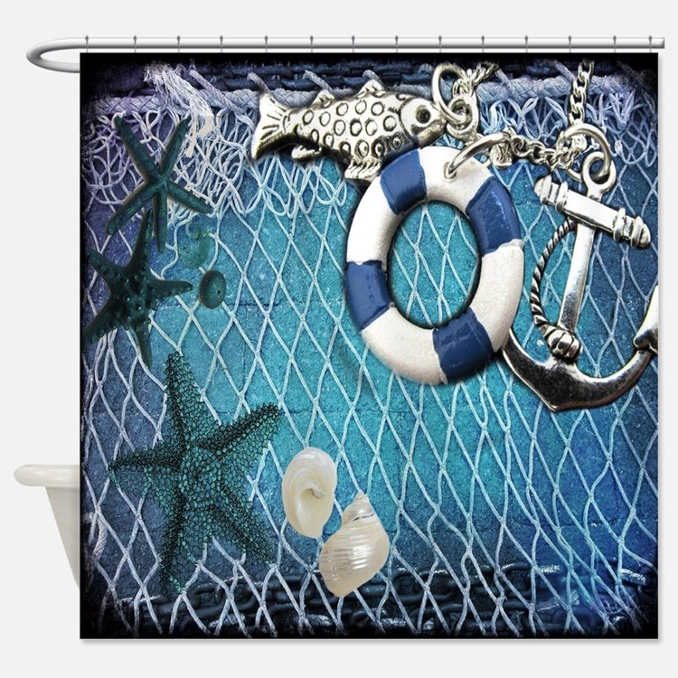 nautical fisherman sea shells Shower Curtain