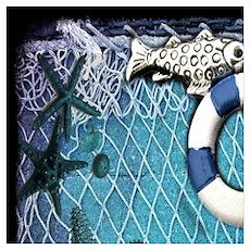 nautical fisherman sea shells Poster