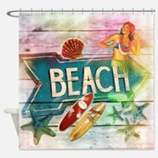 sunrise beach surfer Shower Curtain
