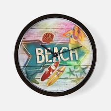 sunrise beach surfer Wall Clock