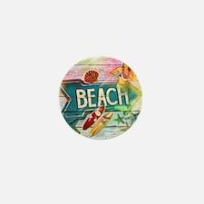 sunrise beach surfer Mini Button