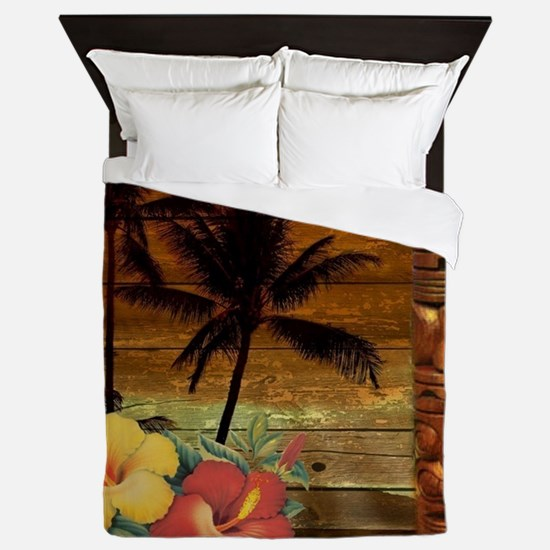 totem Hawaiian Hibiscus Flower Queen Duvet