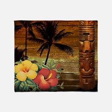 totem Hawaiian Hibiscus Flower Throw Blanket