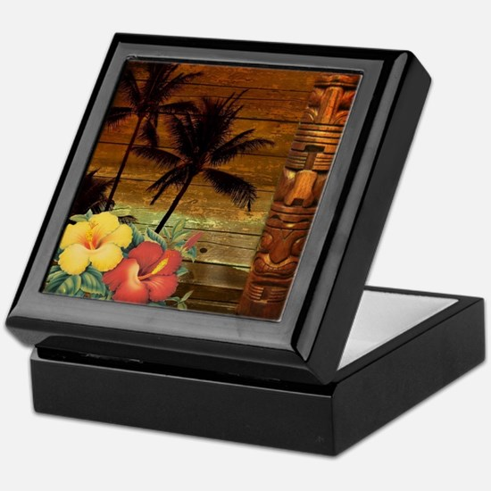 totem Hawaiian Hibiscus Flower Keepsake Box