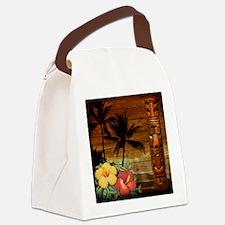 totem Hawaiian Hibiscus Flower Canvas Lunch Bag