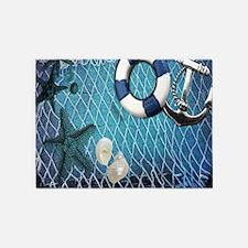 nautical fisherman sea shells 5'x7'Area Rug
