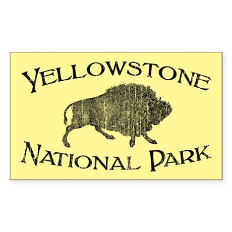 Yellowstone National Park (Bison) Sticker (Rectang