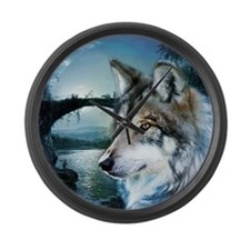 romantic moonlight wild wolf Large Wall Clock