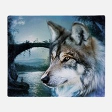 romantic moonlight wild wolf Throw Blanket