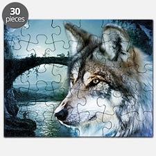 romantic moonlight wild wolf Puzzle