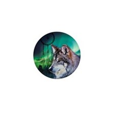 dream catcher northern light wolf Mini Button