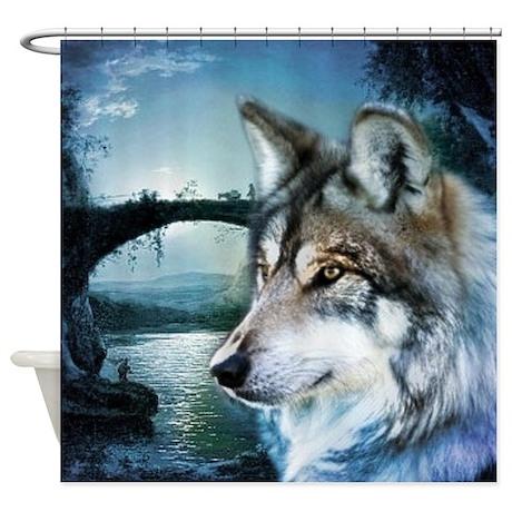Romantic Moonlight Wild Wolf Shower Curtain