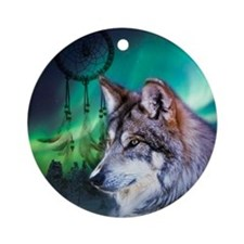 dream catcher northern light wolf Round Ornament