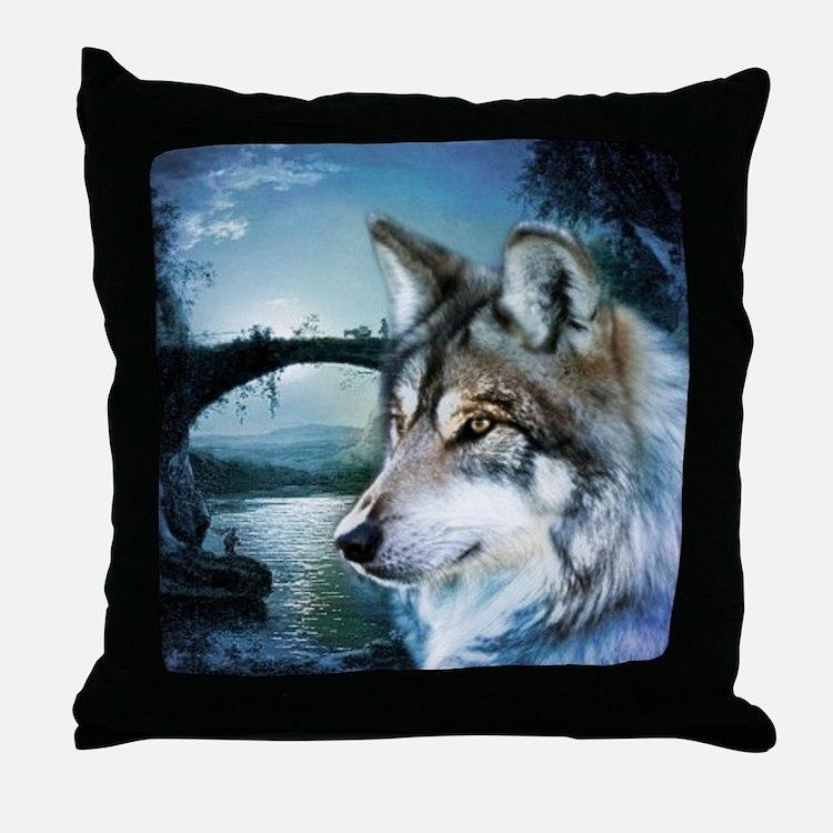 romantic moonlight wild wolf Throw Pillow