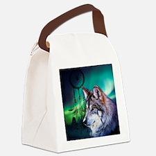 dream catcher northern light wolf Canvas Lunch Bag
