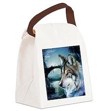 romantic moonlight wild wolf Canvas Lunch Bag