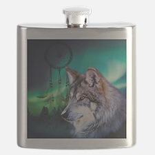 dream catcher northern light wolf Flask