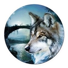romantic moonlight wild wolf Round Car Magnet