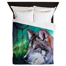 dream catcher northern light wolf Queen Duvet