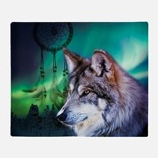 dream catcher northern light wolf Throw Blanket