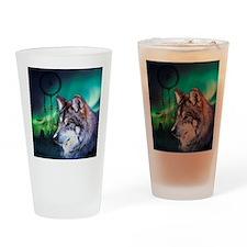dream catcher northern light wolf Drinking Glass