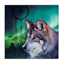 dream catcher northern light wolf Tile Coaster