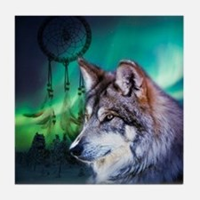 dream catcher northern light wolf Tile Coaster