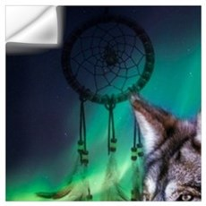 dream catcher northern light wolf Wall Decal