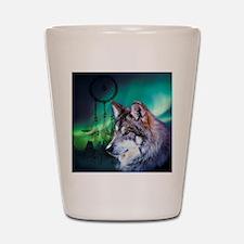 dream catcher northern light wolf Shot Glass