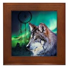 dream catcher northern light wolf Framed Tile