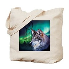 dream catcher northern light wolf Tote Bag